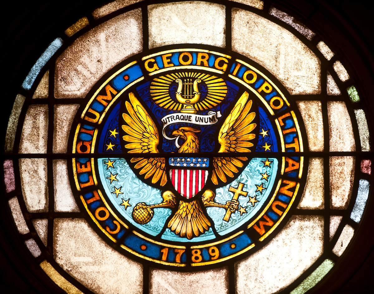 Georgetown Seal set in stained glass.